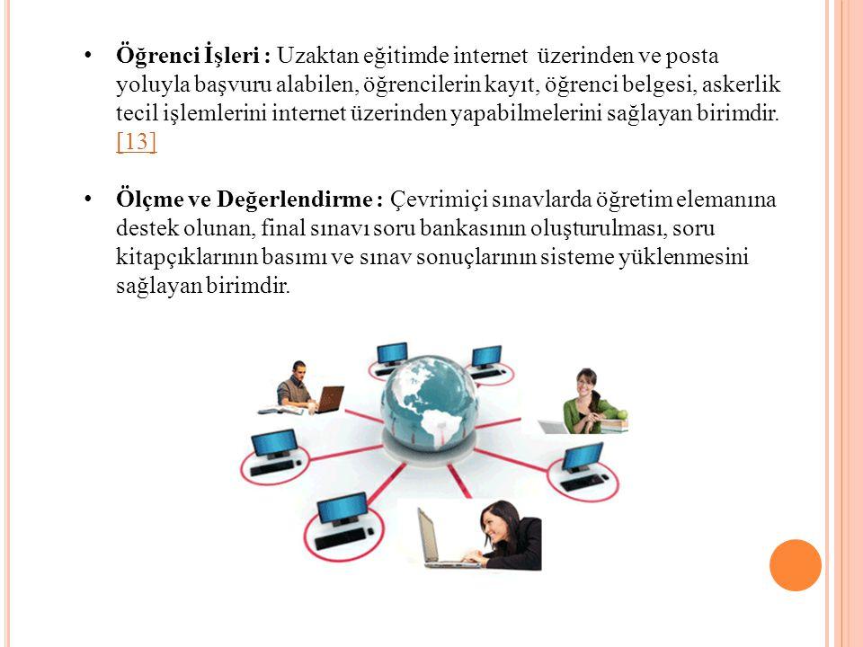 Öğrenci İşleri : Uzaktan eğitimde internet üzerinden ve posta yoluyla başvuru alabilen, öğrencilerin kayıt, öğrenci belgesi, askerlik tecil işlemlerini internet üzerinden yapabilmelerini sağlayan birimdir. [13]